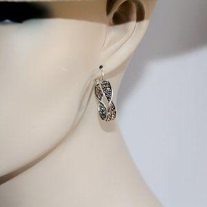 Sterling Silver Twist Eternity Marcasite Earrings